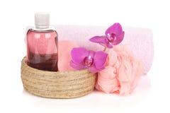 Fiori dei cosmetici, dell'asciugamano e dell'orchidea Immagini Stock