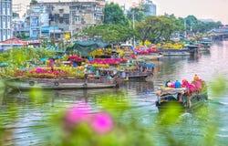 Fiori del bacino della barca che sembrano trafficanti Fotografia Stock Libera da Diritti