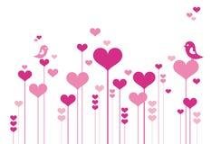 Fiori del cuore con i lovebirds Fotografia Stock