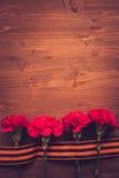 Fiori del garofano e primo piano di George Ribbon su un fondo scuro Giorno di vittoria - 9 maggio Giubileo 70 anni Fotografie Stock Libere da Diritti