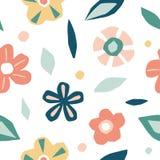 Fiori del ritaglio, modello senza cuciture degli elementi floreali illustrazione di stock