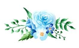 Fiori dell'acquerello composizione variopinta dipinta a mano Mazzo su background Immagini Stock Libere da Diritti