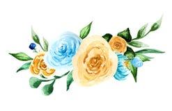 Fiori dell'acquerello composizione variopinta dipinta a mano Mazzo su background Immagine Stock Libera da Diritti
