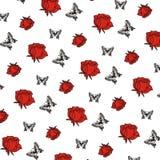 Fiori dell'illustrazione con progettazione senza cuciture del fondo della farfalla Fotografia Stock