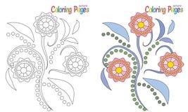 Fiori della pagina di coloritura Fotografia Stock