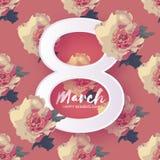 Fiori della peonia 8 marzo cartolina d'auguri Giorno felice del ` s delle donne Fotografia Stock Libera da Diritti