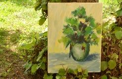 Fiori della pittura acrilica in vaso Fotografia Stock Libera da Diritti