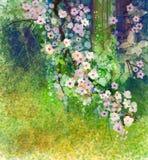 Fiori della pittura dell'acquerello e foglie verdi molli Fotografia Stock Libera da Diritti