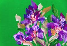 Fiori della pittura su un fondo verde Pittura a olio, impressione illustrazione di stock