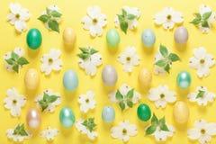 Fiori della primavera ed uova di Pasqua su un fondo giallo Fotografia Stock