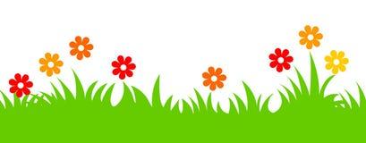 Fiori della sorgente ed intestazione dell'erba Fotografie Stock Libere da Diritti