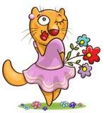 Fiori della tenuta del gatto del fumetto Fotografia Stock
