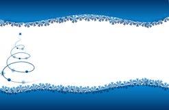 Fiori delle stelle blu della scheda dell'albero di Natale Fotografia Stock Libera da Diritti