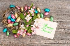 Fiori delle uova di Pasqua del cioccolato e di melo Piovuto appena sopra Immagini Stock Libere da Diritti