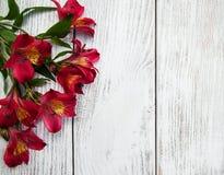 Fiori di Alstroemeria su una tavola Fotografie Stock Libere da Diritti