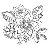Fiori di arte di scarabocchio Elementi di erbe disegnati a mano di progettazione Immagine Stock Libera da Diritti