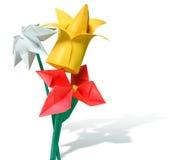 Fiori di carta di Origami - rossi, giallo, bianco Fotografia Stock