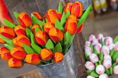 Fiori di legno variopinti dei tulipani, Olanda Fotografia Stock