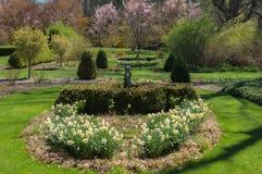 Fiori di primavera con le statue Fotografie Stock