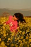 Fiori di raccolto della ragazza Fotografia Stock Libera da Diritti
