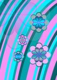 Fiori di Stripey in azzurro e nel colore rosa Fotografia Stock Libera da Diritti