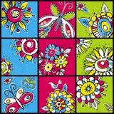 Fiori di tiraggio della mano a colori i quadrati illustrazione di stock
