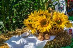 Fiori di un girasole in un canestro, su una balla della paglia, contro un fondo di un campo di cereale fotografia stock