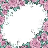Fiori di vettore impostati Bella corona Raccolta floreale elegante con le foglie isolate di rosa e blu ed i fiori, disegnati a ma Fotografia Stock Libera da Diritti