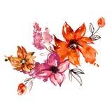 Fiori dipinti a mano dell'acquerello sveglio invito Partecipazione di nozze Scheda di compleanno Fotografia Stock