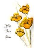 Fiori dipinti a mano gialli Fotografie Stock