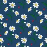 Fiori e coccinelle della margherita del punto ricamati modello senza cuciture su un fondo blu Vettore illustrazione di stock