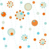 Fiori e disegno dei puntini Immagini Stock Libere da Diritti
