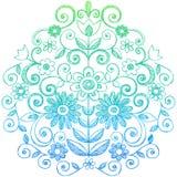 Fiori e Doodles imprecisi del taccuino di turbinii illustrazione di stock