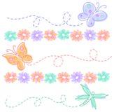 Fiori e farfalle della sorgente Fotografia Stock