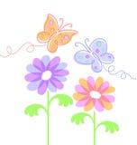 Fiori e farfalle della sorgente Immagini Stock