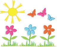 Fiori e farfalle della sorgente Immagine Stock