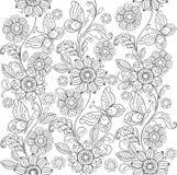Fiori e farfalle disegnati a mano per l'anti coloritura di sforzo fotografia stock