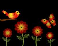 Fiori e fondo gialli ed arancio di PowerPoint dell'uccello Fotografia Stock Libera da Diritti
