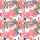 Fiori e germogli delle rose con gli elefanti svegli con il fondo senza cuciture del modello dei baloons illustrazione vettoriale