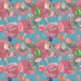 Fiori e germogli delle rose con gli elefanti svegli con il fondo senza cuciture del modello dei baloons royalty illustrazione gratis