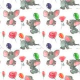 Fiori e germogli delle rose con gli elefanti svegli con il fondo senza cuciture del modello dei baloons illustrazione di stock
