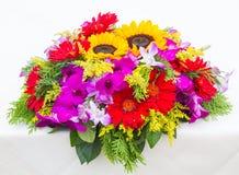 Fiori e girasoli rossi della gerbera sulla tavola bianca Fotografie Stock