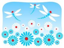 Fiori e libellule Fotografia Stock