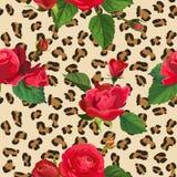 Fiori e modello senza cuciture della pelle del leopardo Il fondo animale del tessuto con gli elementi floreali adatta la progetta illustrazione di stock