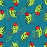 Fiori e piante astratti modello senza cuciture, fondo di vettore Ornamento stilizzato naturale Disegno della mano per la progetta Immagine Stock