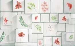 Fiori e piante su un fondo bianco, le mattonelle Carta da parati per l'interiore rappresentazione 3d illustrazione di stock