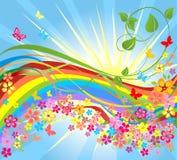Fiori e Rainbow Fotografia Stock