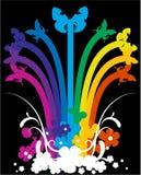 fiori e Rainbow su backgroud nero Immagine Stock Libera da Diritti
