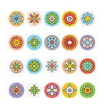Fiori ed icone colorate floreali 6 di vettore Fotografie Stock Libere da Diritti