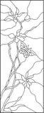 Fiori ed illustrazione al tratto della farfalla Immagine Stock